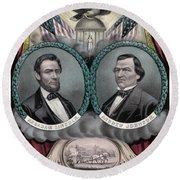 Lincoln And Johnson Election Banner 1864 Round Beach Towel
