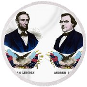 Lincoln And Johnson Campaign Poster Round Beach Towel