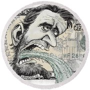Lincoln Barfs Round Beach Towel
