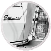 Lincoln Continental Mark Iv Head Light -0149bw Round Beach Towel