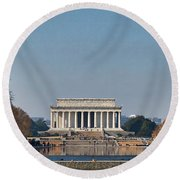 Lincoln From Afar Round Beach Towel
