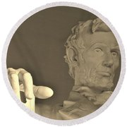 Lincoln Head And Hand Round Beach Towel