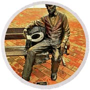 Round Beach Towel featuring the photograph Lincoln Library Statue 004 by George Bostian