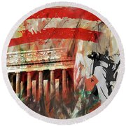 Round Beach Towel featuring the painting Lincoln Memorial And Lincoln Statue by Gull G