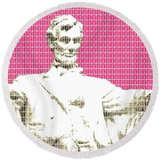 Lincoln Memorial - Pink Round Beach Towel