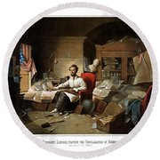 Lincoln Writing The Emancipation Proclamation Round Beach Towel