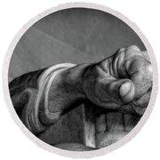 Lincoln's Left Hand B-w Round Beach Towel