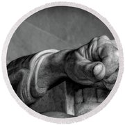 Lincoln's Left Hand B-w Round Beach Towel