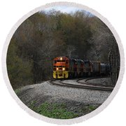 Round Beach Towel featuring the photograph Lindholm Train by Rick Morgan