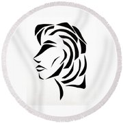 Round Beach Towel featuring the mixed media Lindsay by Delin Colon