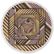 Round Beach Towel featuring the digital art Line Geometry by Ron Bissett