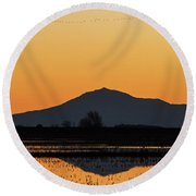 Line Of Birds Above Mt. Diablo Round Beach Towel