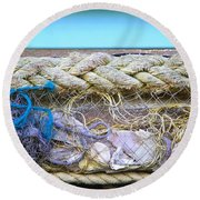 Round Beach Towel featuring the photograph Line Of Debris II by Stephen Mitchell