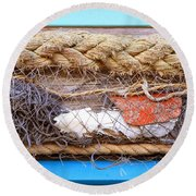 Line Of Debris Round Beach Towel