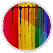 Line Of Fall Colors Round Beach Towel