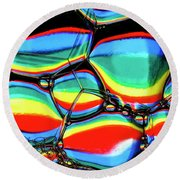 Round Beach Towel featuring the photograph Lined Bubbles by Jean Noren