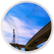 Round Beach Towel featuring the photograph Lineing The Sky by Jamie Lynn