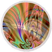 Lines And Curves Abstract Round Beach Towel
