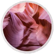 Lines In The Canyon Round Beach Towel