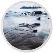 Round Beach Towel featuring the photograph Lines In The Rocks by Parker Cunningham