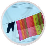 Lines In The Sky Round Beach Towel by Ana Mireles
