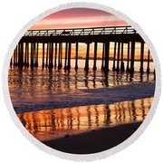 Sunset Seacliff Shadows Round Beach Towel
