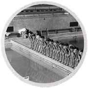 Lineup Of Ncaa Men Swimmers Round Beach Towel