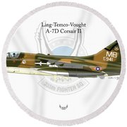 Ling-temco-vaught A-7d Corsair Round Beach Towel