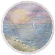 Round Beach Towel featuring the painting Lingering Freedom by Judith Rhue