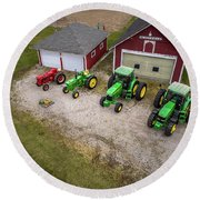Lining Up The Tractors Round Beach Towel