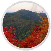 Round Beach Towel featuring the photograph Linville Gorge by Kathryn Meyer