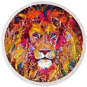 Lion 4 Round Beach Towel