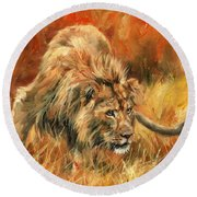 Round Beach Towel featuring the painting Lion Alert by David Stribbling