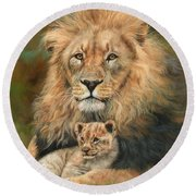 Lion And Cub Round Beach Towel by David Stribbling
