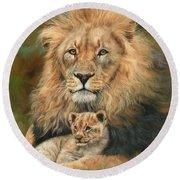 Lion And Cub Round Beach Towel