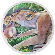 Lion And Cub Round Beach Towel