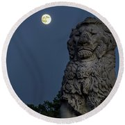 Lion And The Moon Round Beach Towel