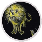 Lion And The Mouse Round Beach Towel