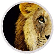 Lion Art - Face Off Round Beach Towel by Sharon Cummings
