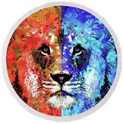 Round Beach Towel featuring the painting Lion Art - Majesty - Sharon Cummings by Sharon Cummings