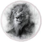 Lion Black White Round Beach Towel