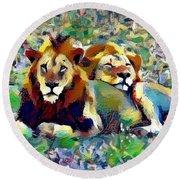 Lion Buddies Round Beach Towel