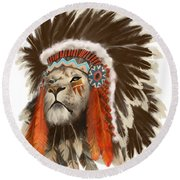 Lion Chief Round Beach Towel
