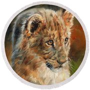 Round Beach Towel featuring the painting Lion Cub Portrait by David Stribbling