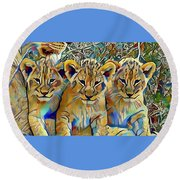 Lion Cubs Round Beach Towel