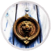 Round Beach Towel featuring the photograph Lion Dreams by Michelle Dallocchio
