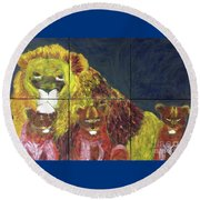 Round Beach Towel featuring the painting Lion Family by Donald J Ryker III