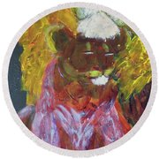 Round Beach Towel featuring the painting Lion Family Part 4 by Donald J Ryker III