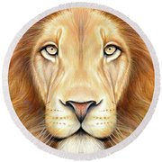 Lion Head In Color Round Beach Towel