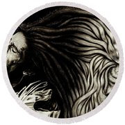 Lion Heart -bob Marley Round Beach Towel